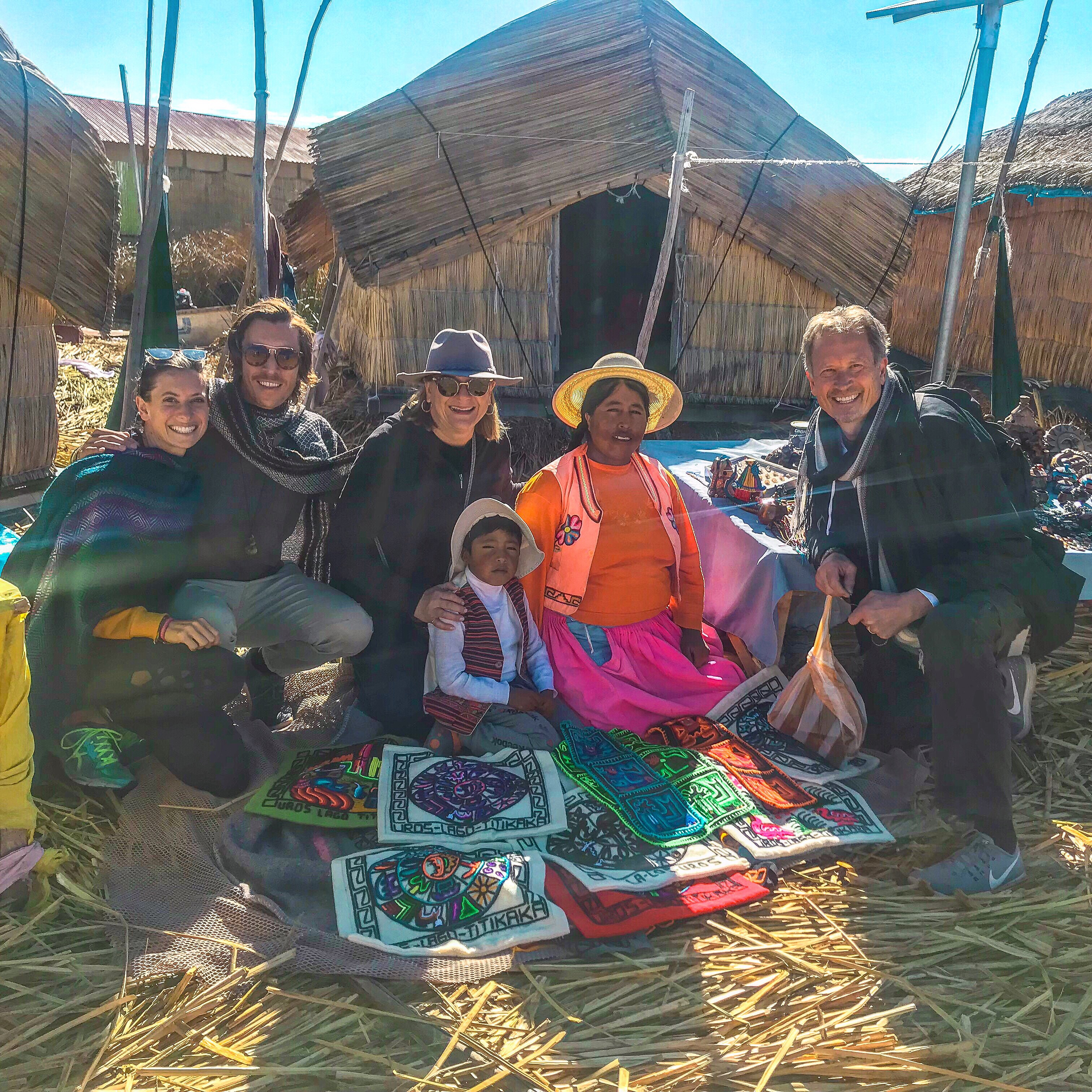 Uros floating islands on the Peru side of Lake Titicaca and the Uros people with their artisan textiles and handiwork.