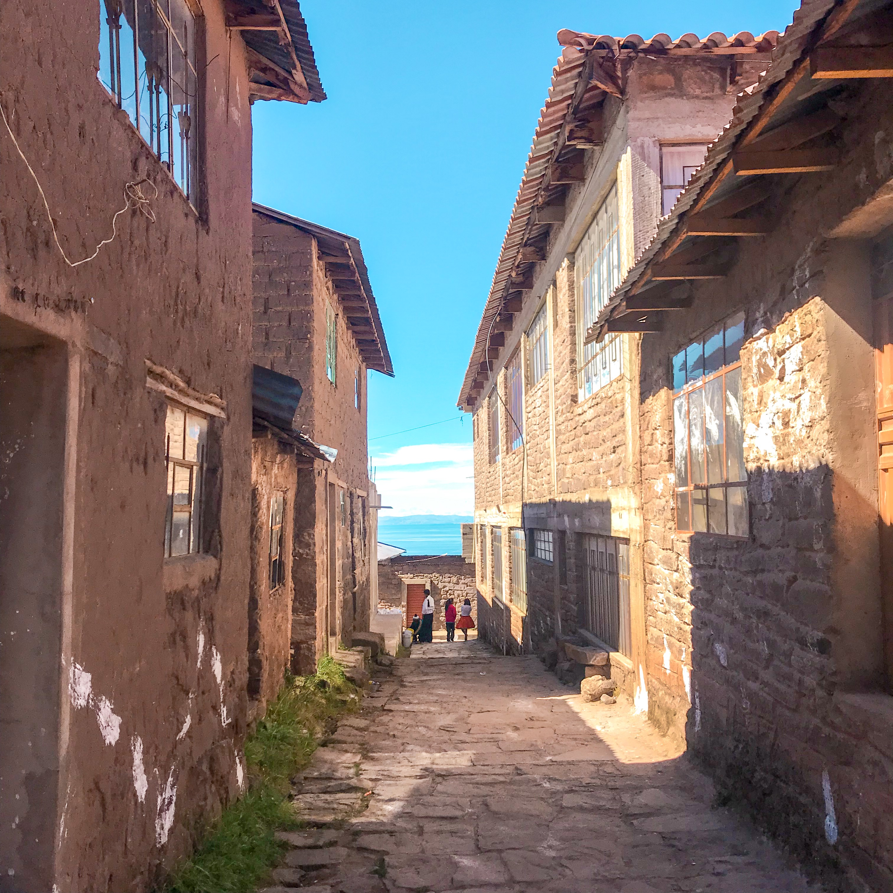 The streets of Taquile Island, Lake Titicaca, Peru, just off the island's main square.